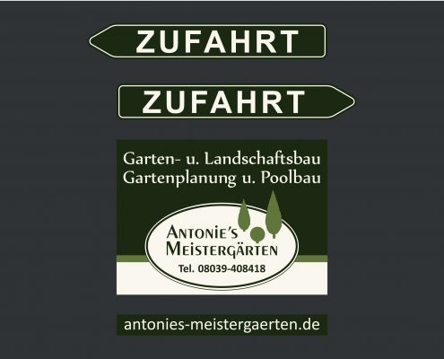 Meistergärten 3-teiliges Schild - Entwurf